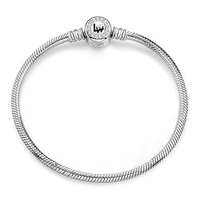 39fea7301c80e Long Way 925 Sterling Silver Snake Chain Bracelet Cubic Zirconia Basic  Charm Bracelets for Women
