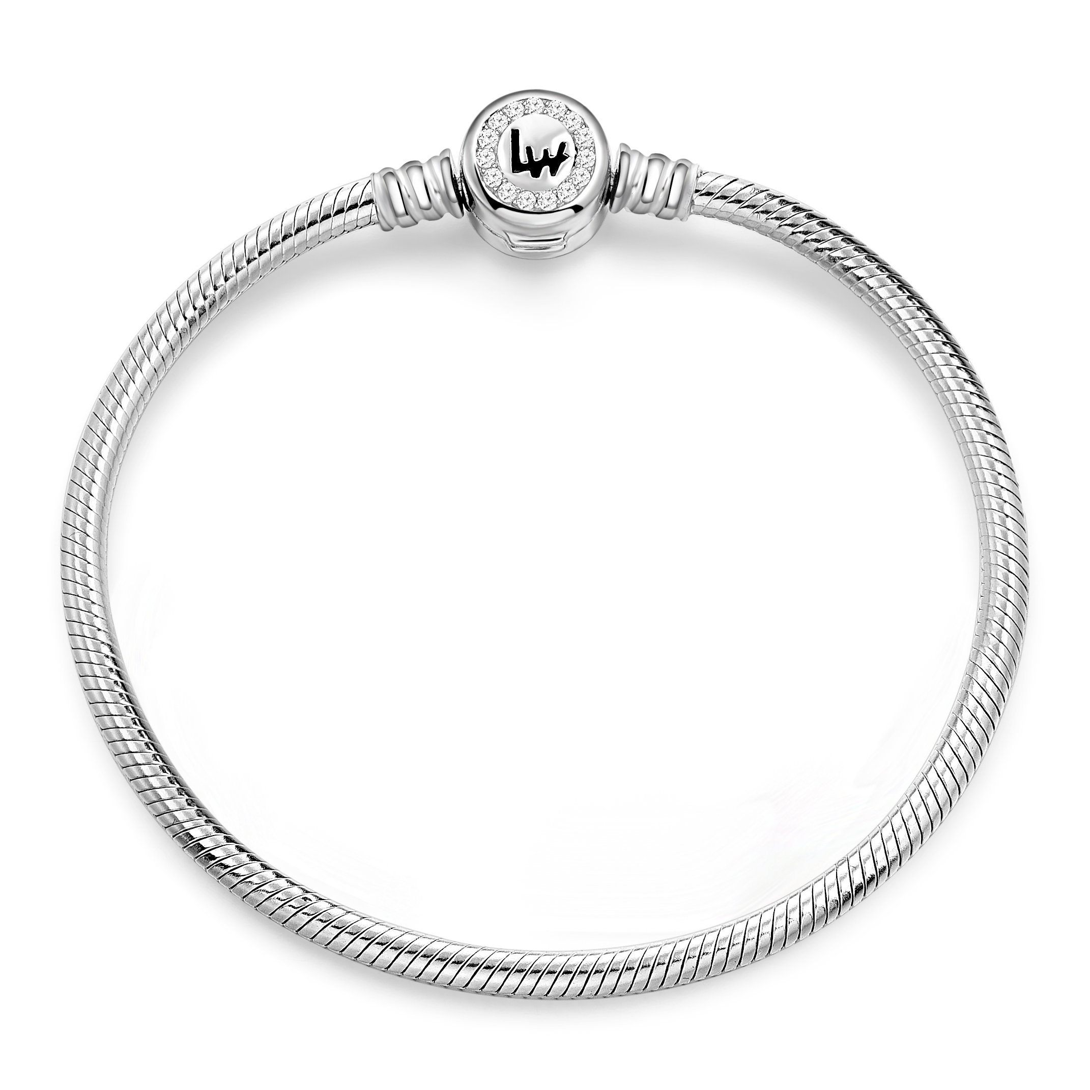 Long Way 925 Sterling Silver Snake Chain Bracelet Cubic Zirconia Basic Charm Bracelets for Women (Silver 7.9inches)