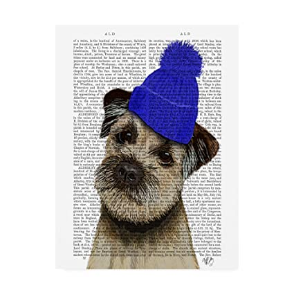 031ea837105 Amazon.com  Trademark Fine Art Border Terrier with Blue Bobble Hat ...