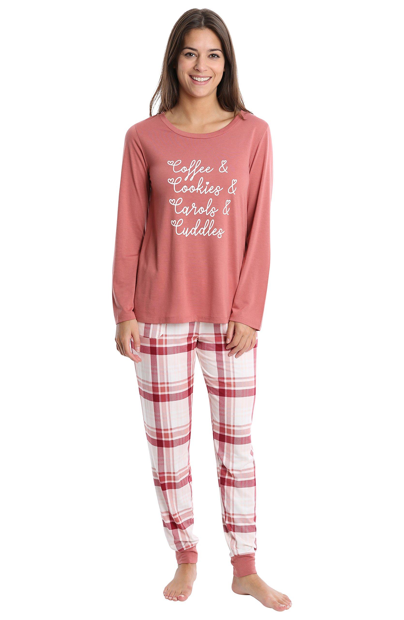 WallFlower Women's Pajama Pant Set - Long Sleeve Sleep Shirt & PJ Lounge Bottoms - Canyon Tulip W. Red and Blush Plaid, Medium