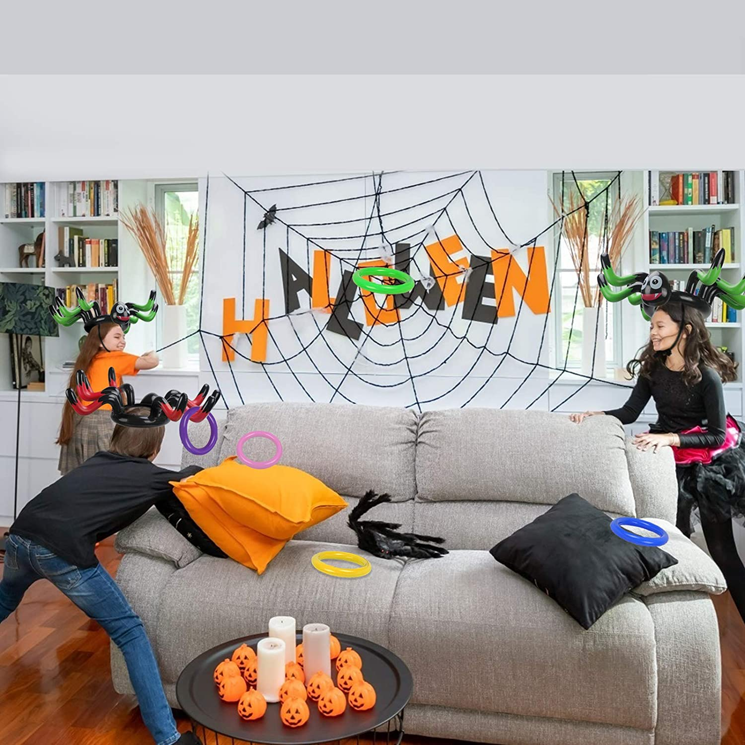 ZERHOK Cappello Gonfiabile delle Streghe,Halloween Witches Hat Toss Game Target Toy con 6pcs Anelli da Lancio Colorati per Bambini Halloween Carnival Party Indoor Outdoor Garden Game
