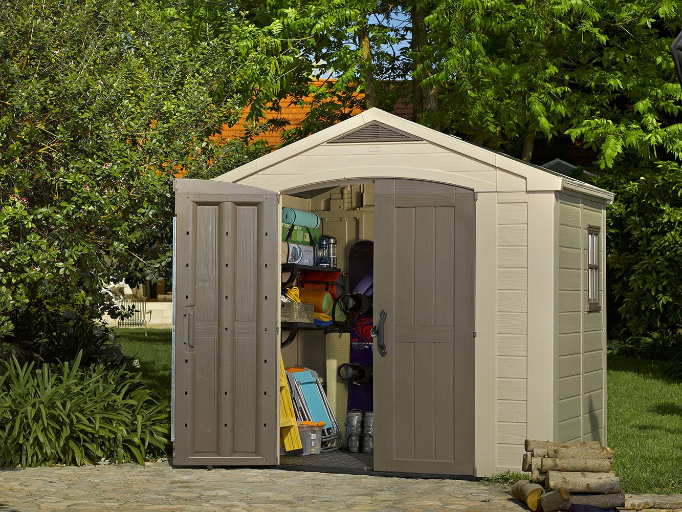 amazoncom keter factor large 8 x 6 ft resin outdoor backyard garden storage shed storage sheds garden outdoor - Garden Sheds 6 X 6