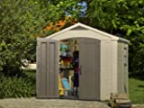 Keter Factor 8x6 Large Resin Outdoor Shed for Patio Furniture, Lawn Mower, and Bike Storage, Taupe/Brown