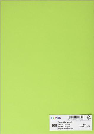 Heyda 204711452 Tonpapier DIN A4, 130 g qm, 100 Blatt maigr/ün