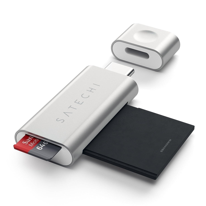 SATECHI Aluminum Lector de Tarjetas Micro/SD Tipo-C Compatible con 2016/2017 MacBook Pro, 2015/2016/2017 MacBook, Chromebook y más (Plata)