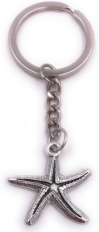 H-Customs Ciondolo portachiavi a forma di stella marina in metallo argentato