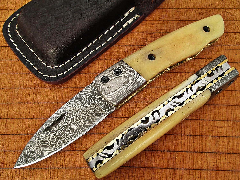 Custom Made Damaskus 15,7cm zusammenklappbar Taschenmesser mit Camel Knochen Griff, die Solide Damaskus Nackenrolle und feine Art File, Klinge unter 7,6cm (bdm-678)
