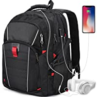 Laptop Backpack 17.3 Inch Waterproof USB Charging Port Travel Business Outdoor Large College Backpack Gaming Computer Bag for Mens Women Black