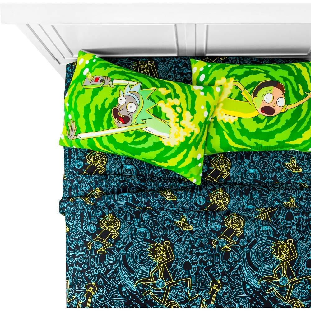 Franco Rick and Morty Queen Comforter and 4 Piece Queen Sheet Set with Throw and Pillow