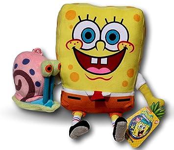 Spongebob Bob Esponja 28cm y Gary Caracol 10cm Pack 2x Peluches Amigos Muñeco Peluche TV Nickelodeon