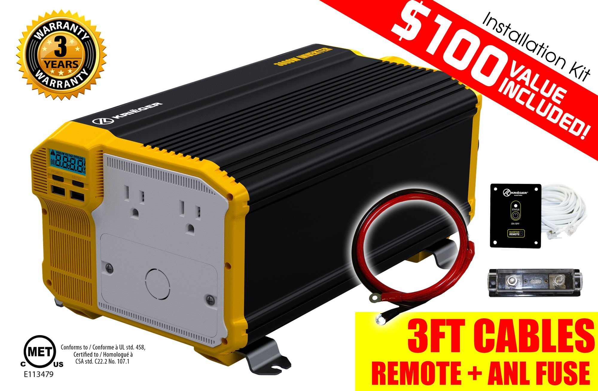 KRIËGER 3000 Watt 12V Power Inverter, Dual 110V AC outlets, Automotive back up power supply for refrigerators, microwaves, coffee makers, Chainsaws, vacuums, power tools. MET approved to UL and CSA