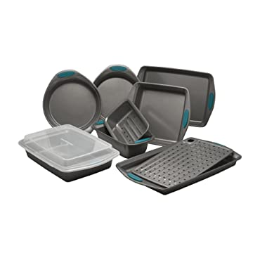 Rachael Ray Yum-o! Nonstick Bakeware 10-Piece Oven Lovin' Bakeware Set, Gray with Marine Blue Handles