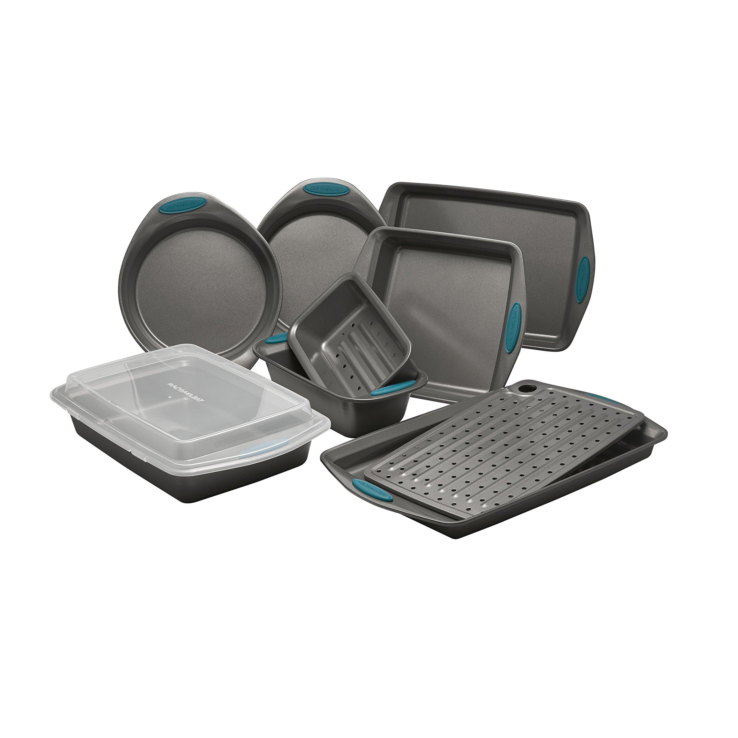 Rachael Ray Yum-o! Nonstick Bakeware 10-Piece Oven Lovin' Bakeware Set, Gray with Marine Blue Handles