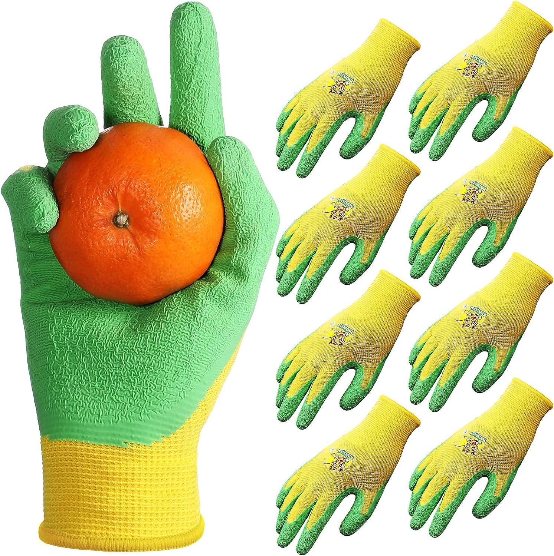 4 Pairs Kid Gardening Gloves for Garden Work, Children Latex Gardening Glove