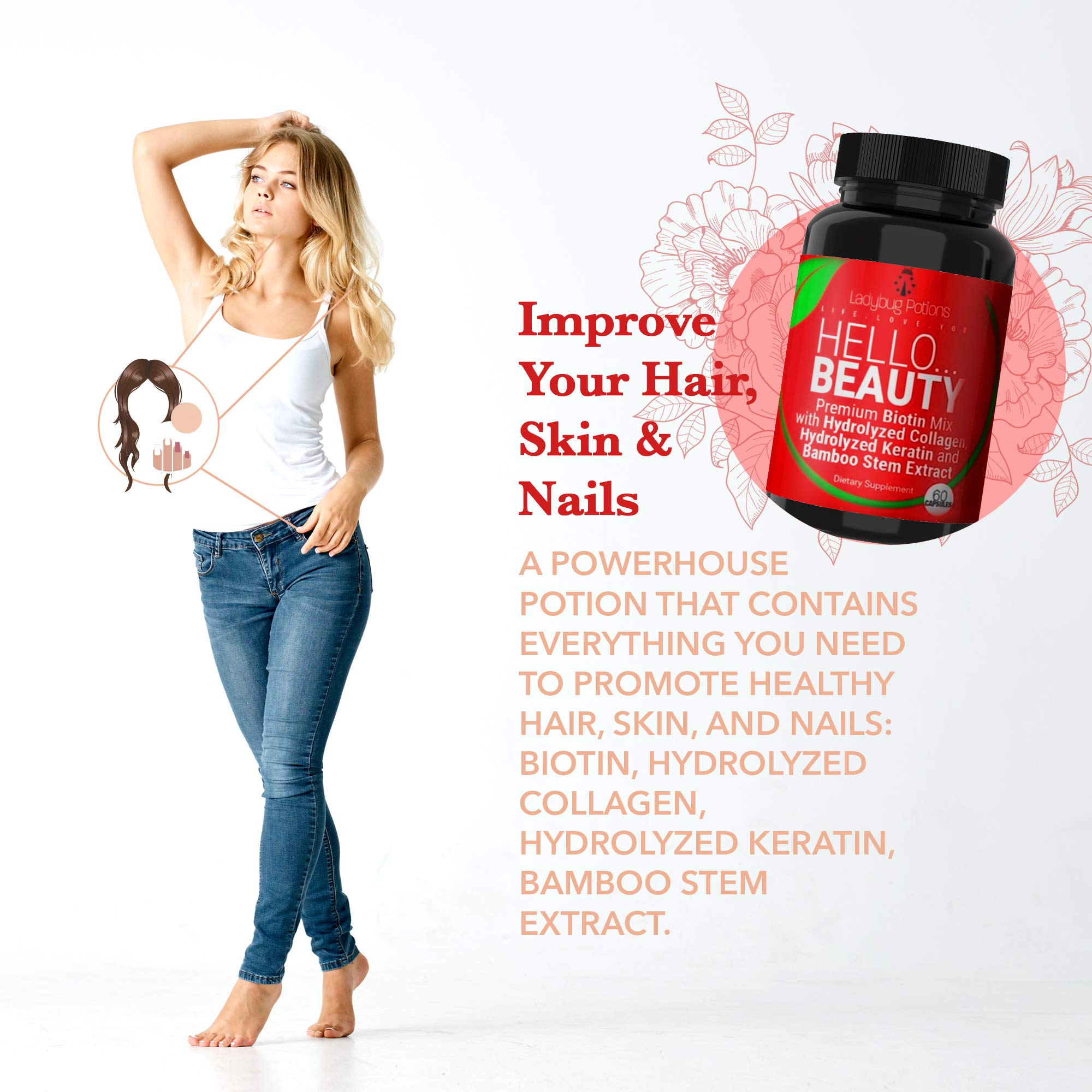 Hello Beauty Hair Vitamins for Faster Hair Growth, Biotin Vitamins for Hair Skin and Nails, Collagen Capsules with Vitamin A, Vitamin C, and Biotin 5000mcg - Ladybug Potions