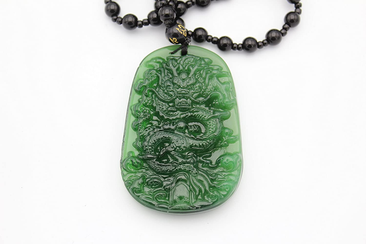 Large Chinese Jadeite Dragon For Success Pendant Obsidian Imitation Beads Necklace Feng Shui Hanging Charm (Black Jade) Beijing
