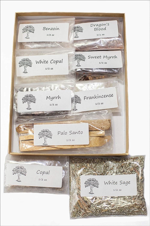 Sacred Scents For You Resin Incense Variety Sampler Pack Includes 1/2 oz Frankincense-Myrrh-Sweet Myrrh-Copal-White Copal-Benzoin-Dragon's Blood-Ground Loose Leaf White sage