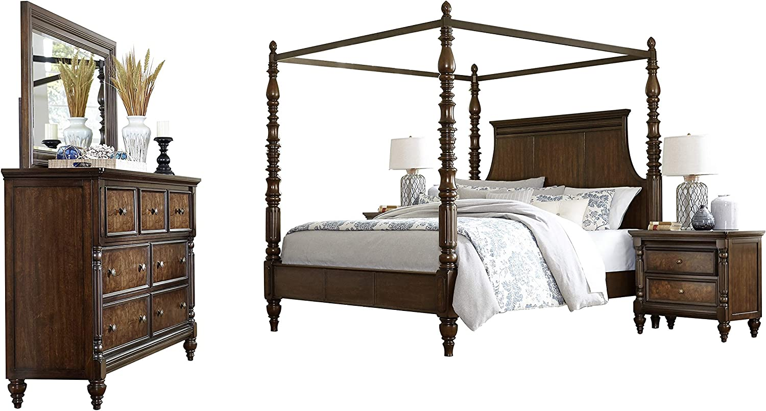 Verona Traditional 5pc Bedroom Set Cal King Canopy Bed Dresser Mirror 2 Nightstand In Tropical Brown Amazon Ca Home Kitchen