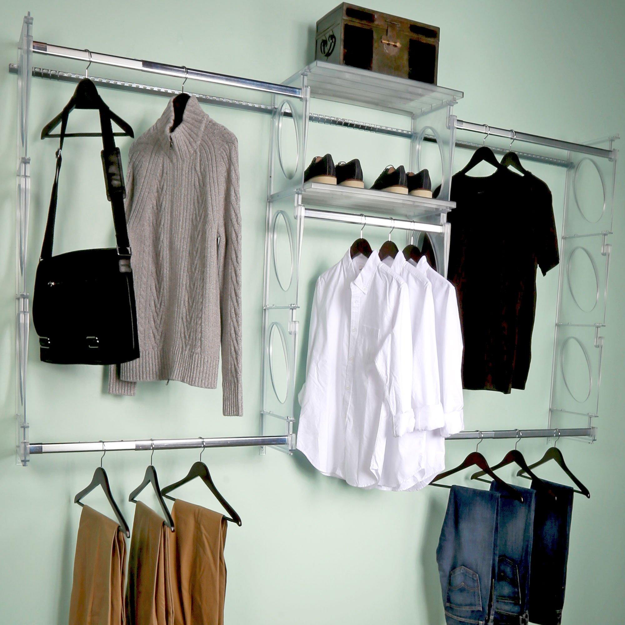 KiO Closet Organizer System - Professional Grade - Revolutionary Single Track Design For Easy Installation - Lifetime Guarantee