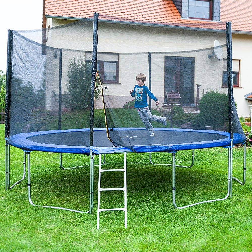 Gartentrampoline Trampoline Outdoor-Trampoline Fitness-Trampoline 430cm , inkl. Sicherheitsnetz, Schuhtasche, Bodenanker Leiter und Abdeckplane