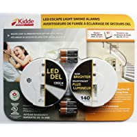 Kidde - LED Escape Light Smoke Alarms - Pack of 2 Alarms and 4 Duracell 9V batteries