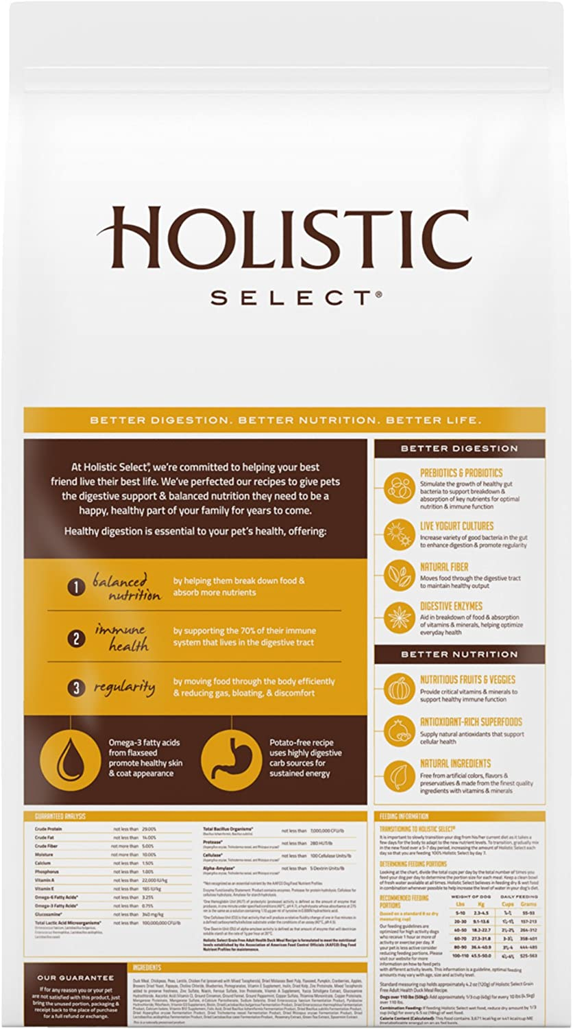 Holistic Select Natural Dry Dog Food Grain Free Duck