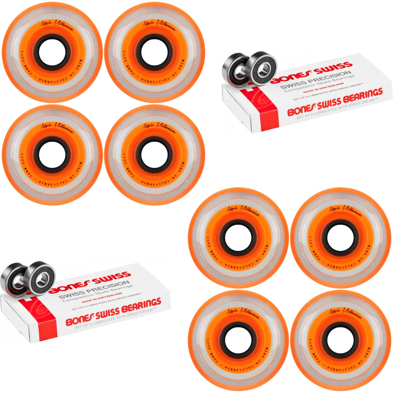 Labeda Millennium Gripper Orange Hockey Inline Wheels 76mm SOFT 8 Pack Swiss by Labeda