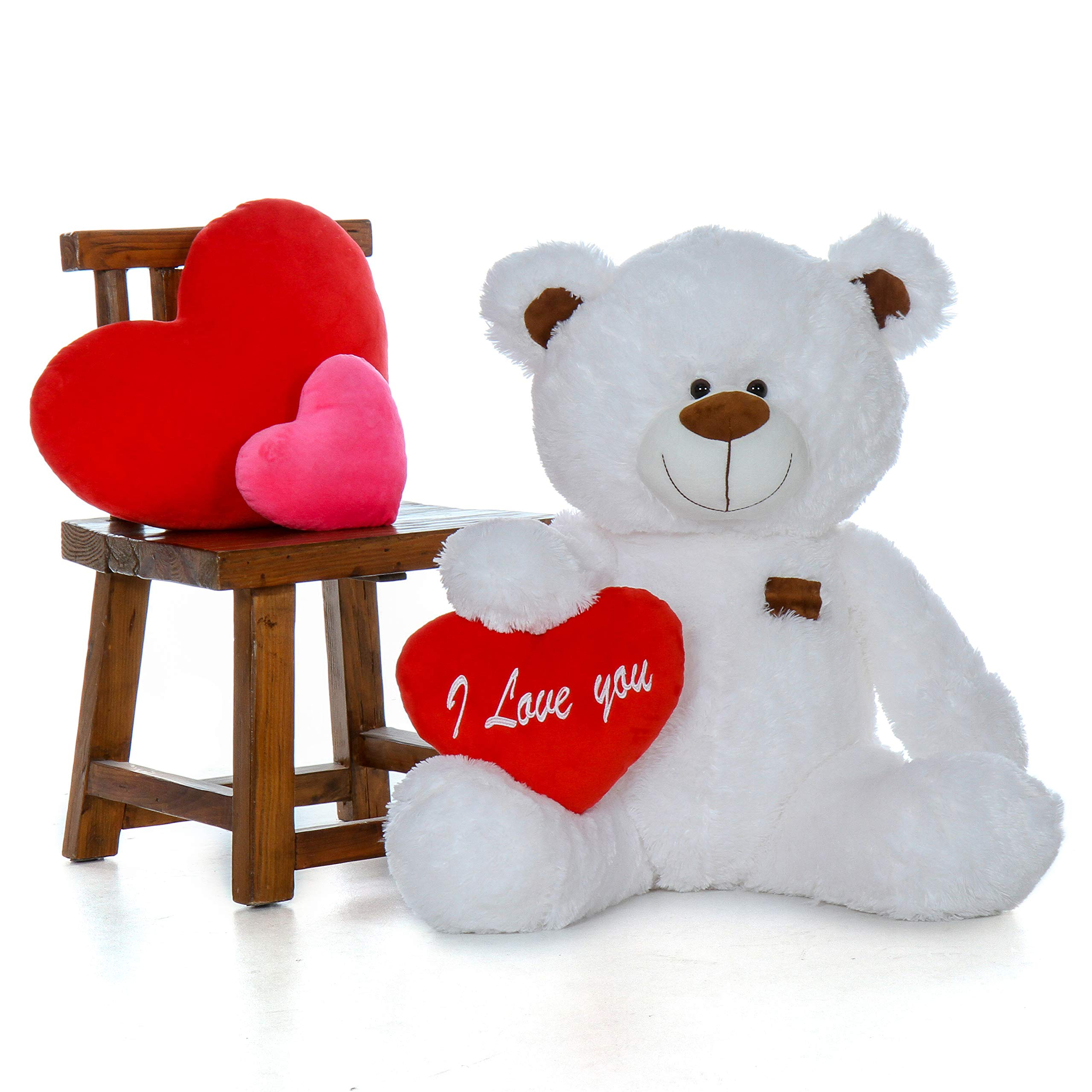 Giant Teddy Original Brand - Biggest Collection of Super Soft Stuffed Teddy Bears (Pillow Heart Included) (Snow White, Huge) by Giant Teddy