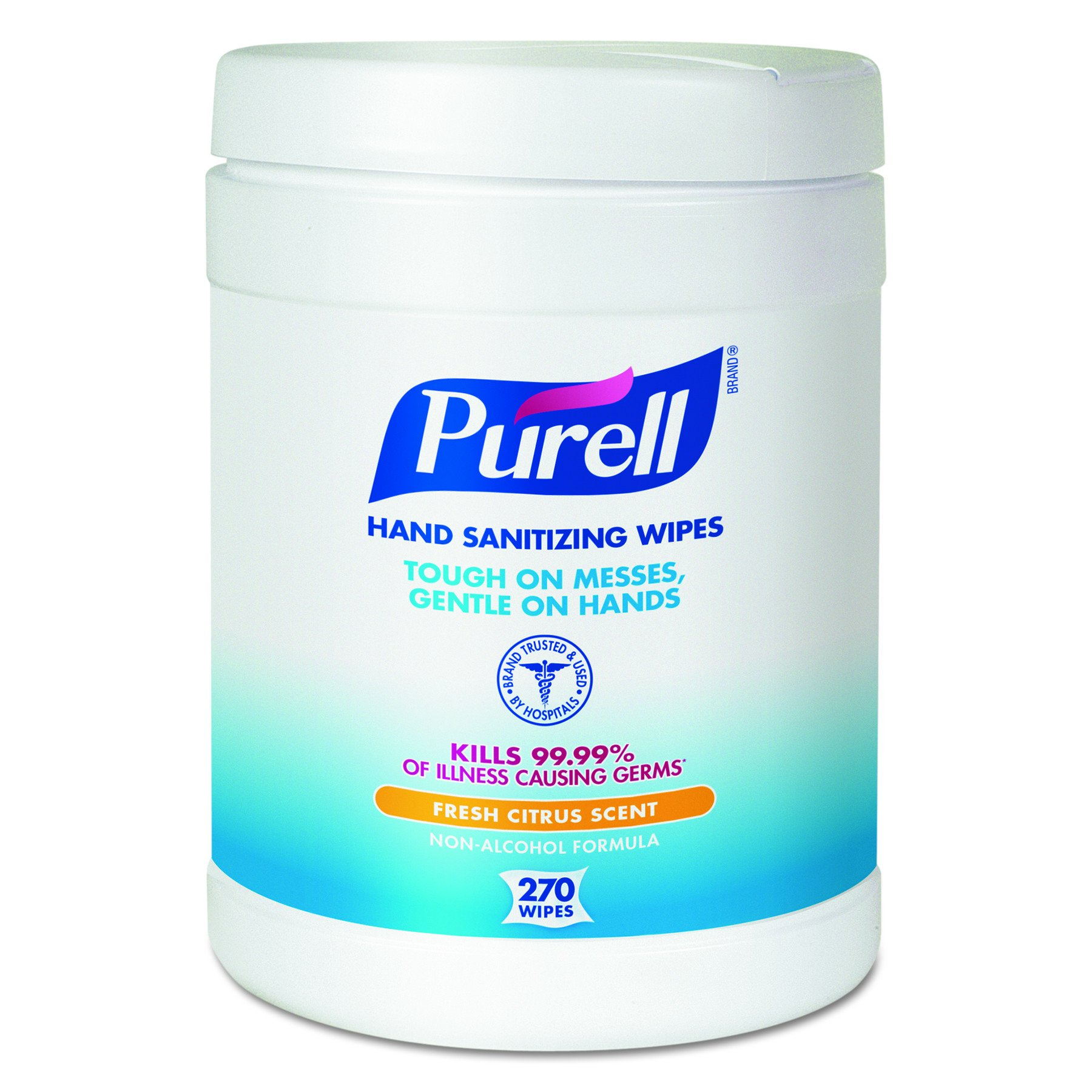 PURELL Hand Sanitizing Wipes -  Disinfecting Wipes with Fresh Citrus Scent, 270 Count in Eco-Fit Canister  (Case of 6) - 9113-06
