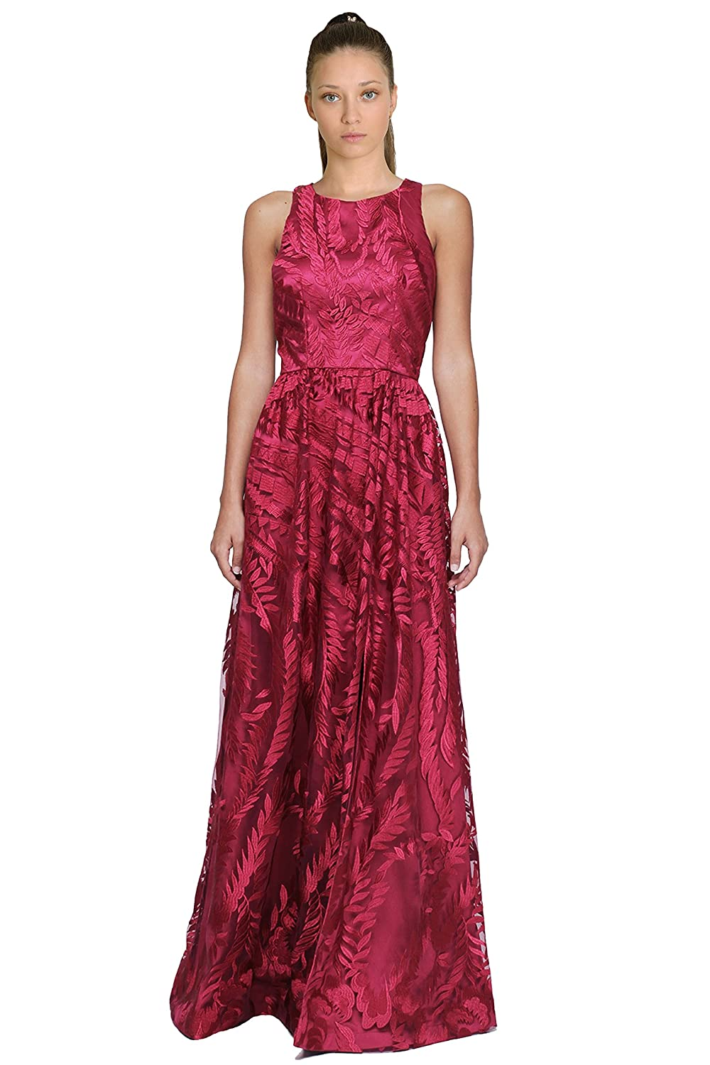David Meister Embroidered Tulle Sleeveless Evening Gown ...