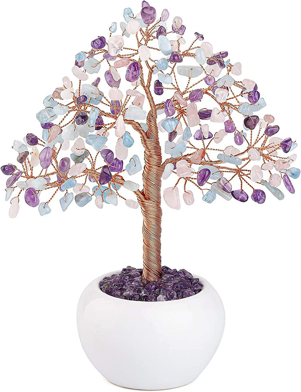 CrystalTears Amethyst Rose Quartz Aquamarine Crystal Money Tree Feng Shui Mixed Natural Healing Crystal Gemstone Bonsai Tree for Home Office Decor Good Luck