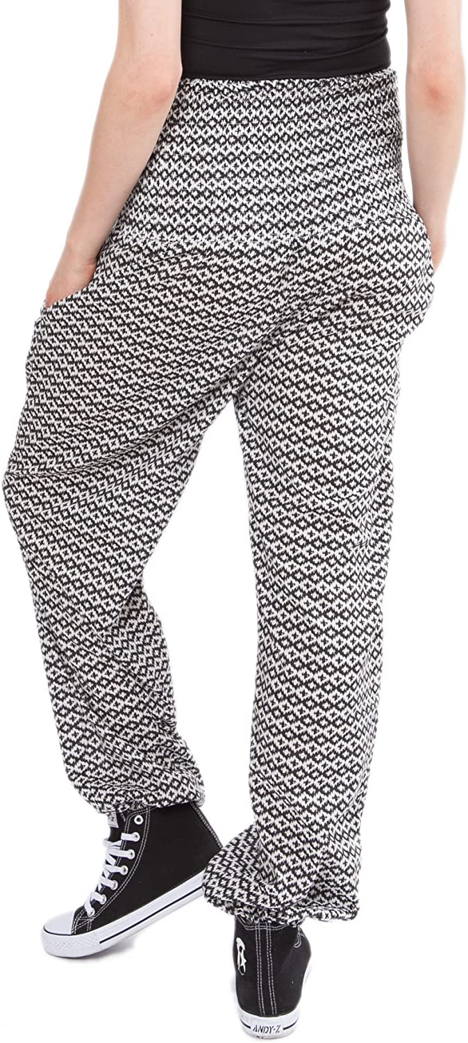 likemary Womens Relaxed Trousers Lounge Pants 100% Cotton - Comfortable Fit - Yoga Graphic Print
