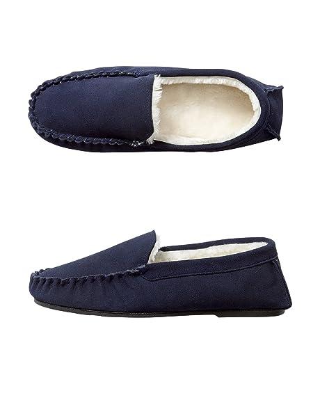 Cotton Traders Algodón Traders Unisex para mujer, tipo Mocasín de ante para hombre zapatillas zapatos