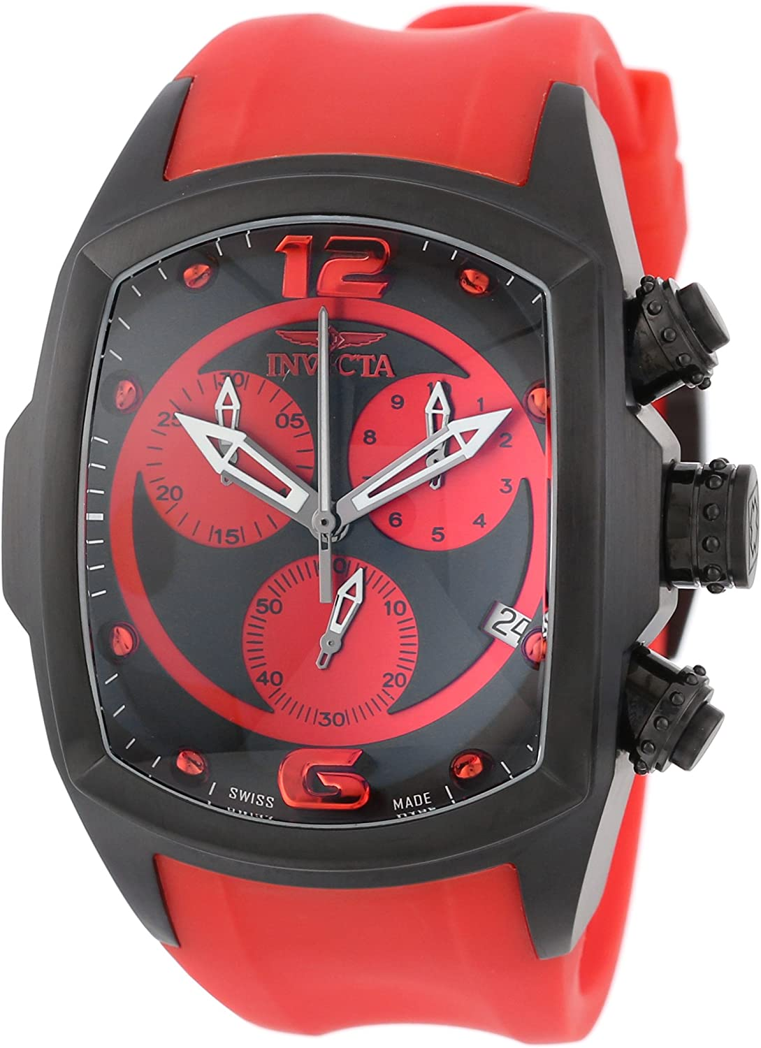 Invicta Men s 6728 Lupah Collection Chronograph Black Ion-Plated Red Rubber Watch