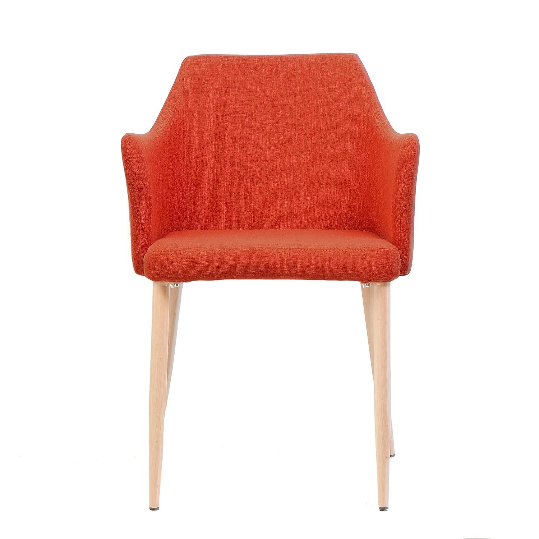 Amazon Nande Mid Century Muted Orange Fabric Dining Chairs