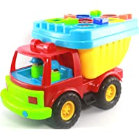 Offspring 21pcs Beach Dump Truck with Shape Sorter in Mesh Bag for Easy Store Sand Toys Children Role Play for 3 - 5 Years Old (Green)