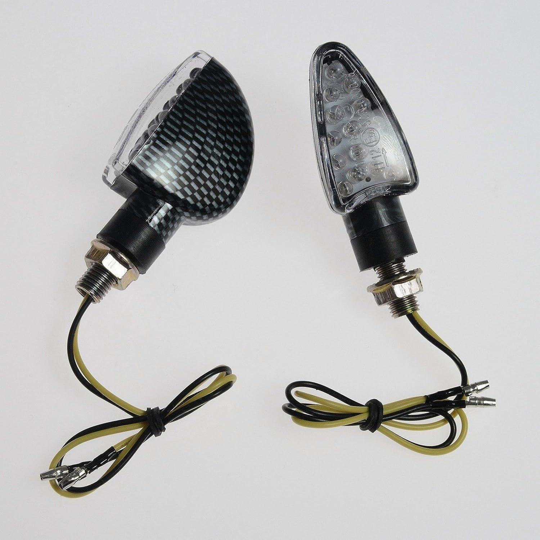 Coppia Indicatori Direzione Frecce Moto LED Universali Sport Naked Carbonio