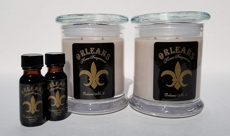Orleans Home Fragrances Bundle - 2 11oz Elite Candles and 2 1/2oz Oils - No. 9