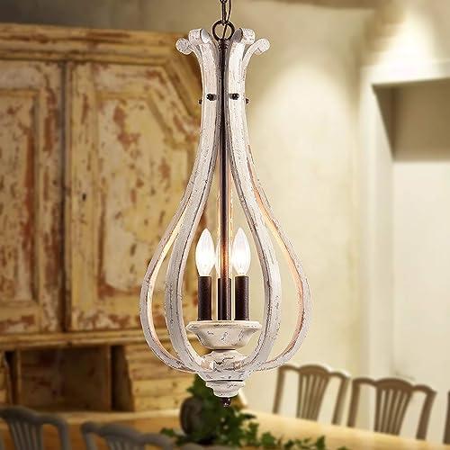 Wood Chandelier Vintage Light Fixture