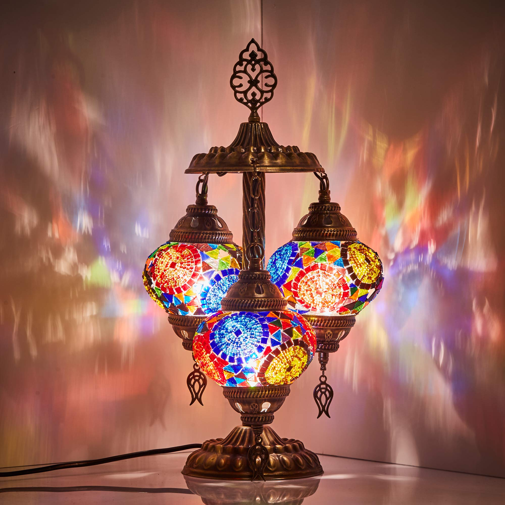 DEMMEX 2019 Stunning 3 Globe Turkish Moroccan Bohemian Table Desk Bedside Night Lamp Light Lampshade with North American Plug & Socket, 19 Inches (Top Mix)