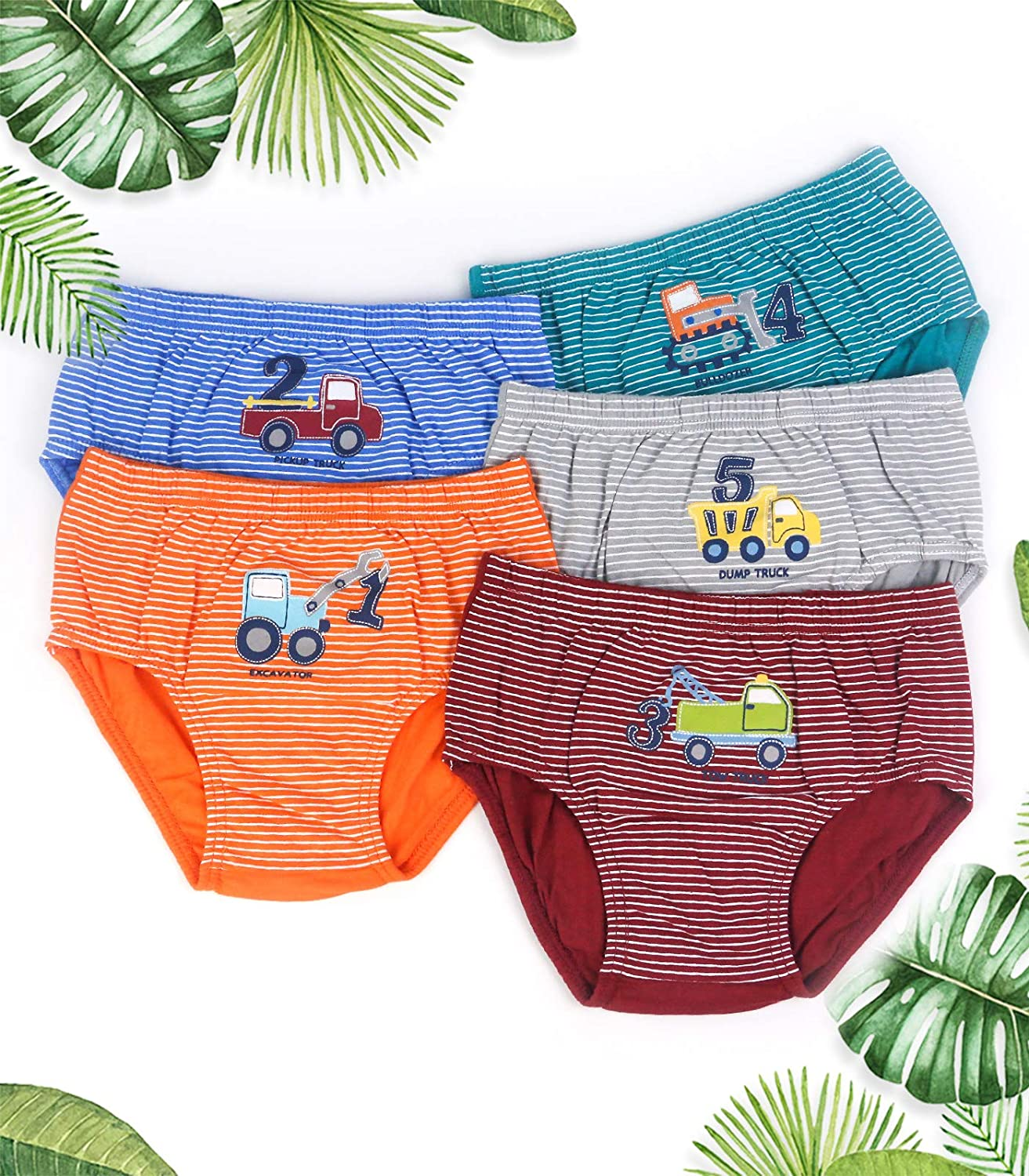ORPAPA Little Boys Underwear Toddler Car Truck Underpants 5 Pack Kids Cotton Stripes Briefs Pants 2-8 Years