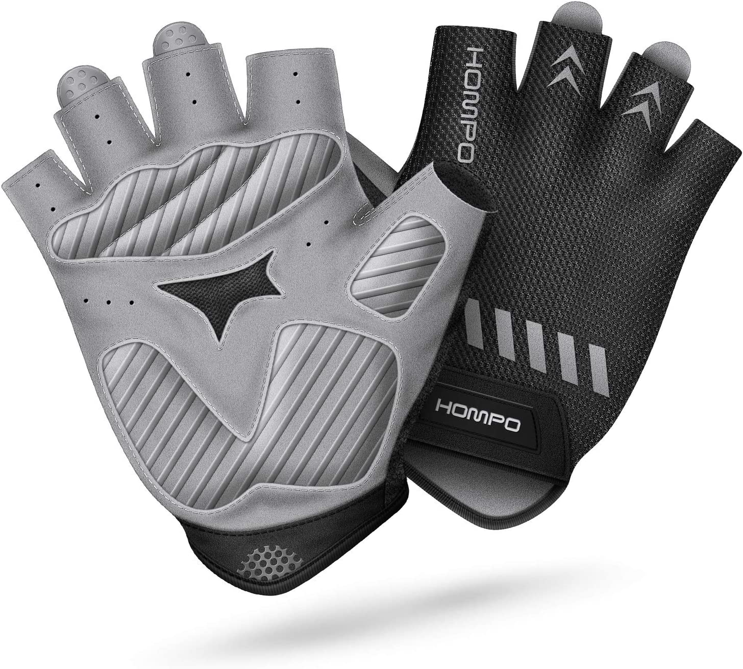HOMPO Bike Gloves Cycling Gloves Half Finger for Men Women with Foam Padding Breathable Mesh Fashion Design for Motorcycle Bicycle Mountain Riding Driving Sports Outdoors Exercise