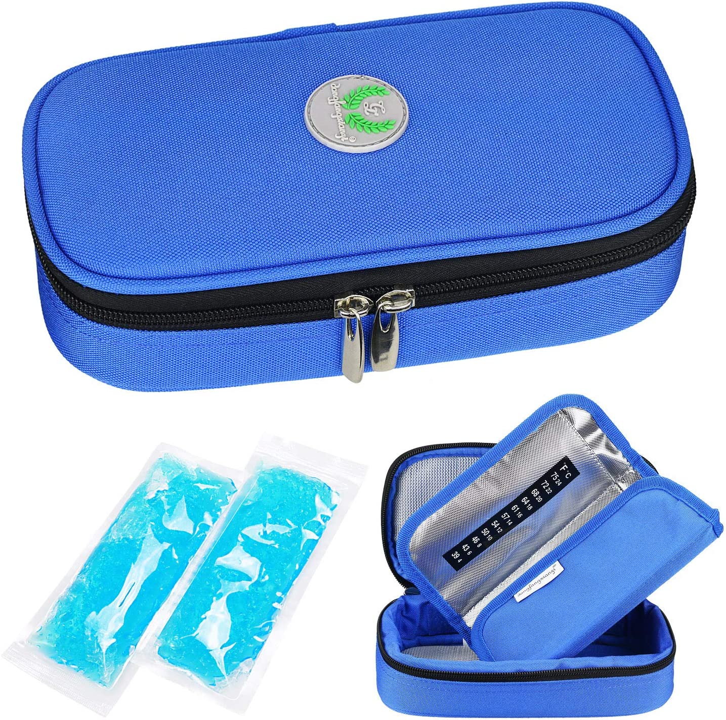 YOUSHARES Insulin Cooler Travel Case - Medication Diabetic Insulated Organizer Portable Cooling Bag for Insulin Pen and Diabetic Supplies with 2 Cooler Ice Pack (Blue)