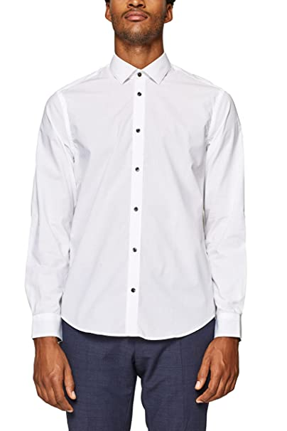 ESPRIT Collection 088eo2f004, Camisa Hombre, Blanco (White 100 ...