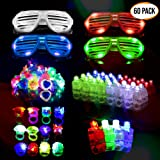 The Twiddlers 60 Pack LED Light Up Glow Flashing Toys - Flashing Finger Lights, Shades Glasses, Rings Toy Party Favour Supplies Party Bag Fillers Classroom Price, Pinata, Easter