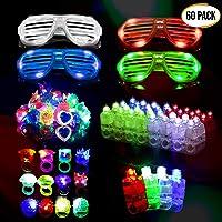 60 LED Dedos, Anillos Luces, Gafas Shutter Luz