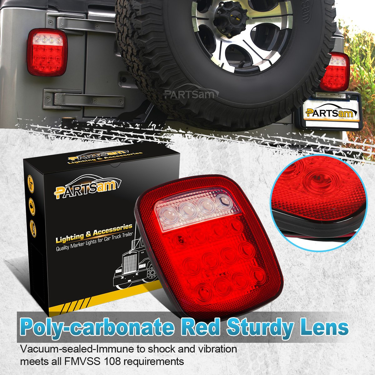 Partsam 2x Universal 16 Led Stop Tail Turn Signal Backup Jeep Jk Light Wiring Free Download Diagrams Pictures Reverse Brake Clearance Marker Lights Lamps Red White For Truck Trailer Yj Cj