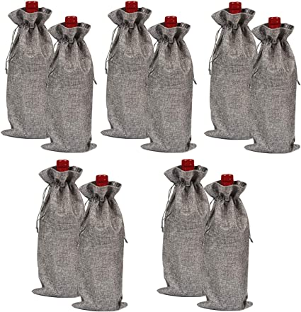 10Pcs Wine Bottle Gift Bags Cover Reusable Drawstring Bag For Wedding Xmas Party