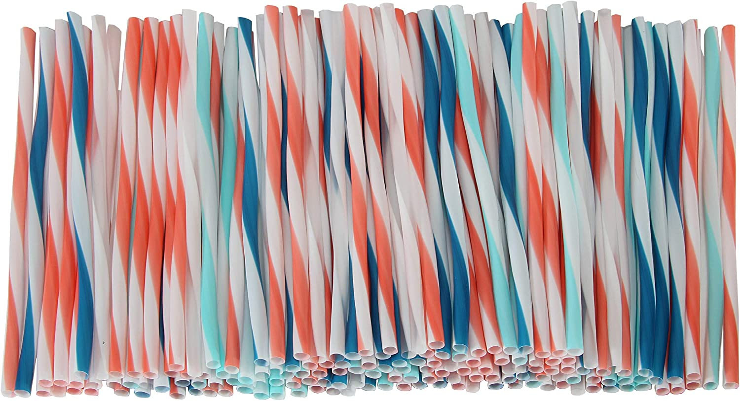 Chef Select Drinking Straws, 150-Count, Decorative Stripe Design with Coral, Blue, Teal Colors