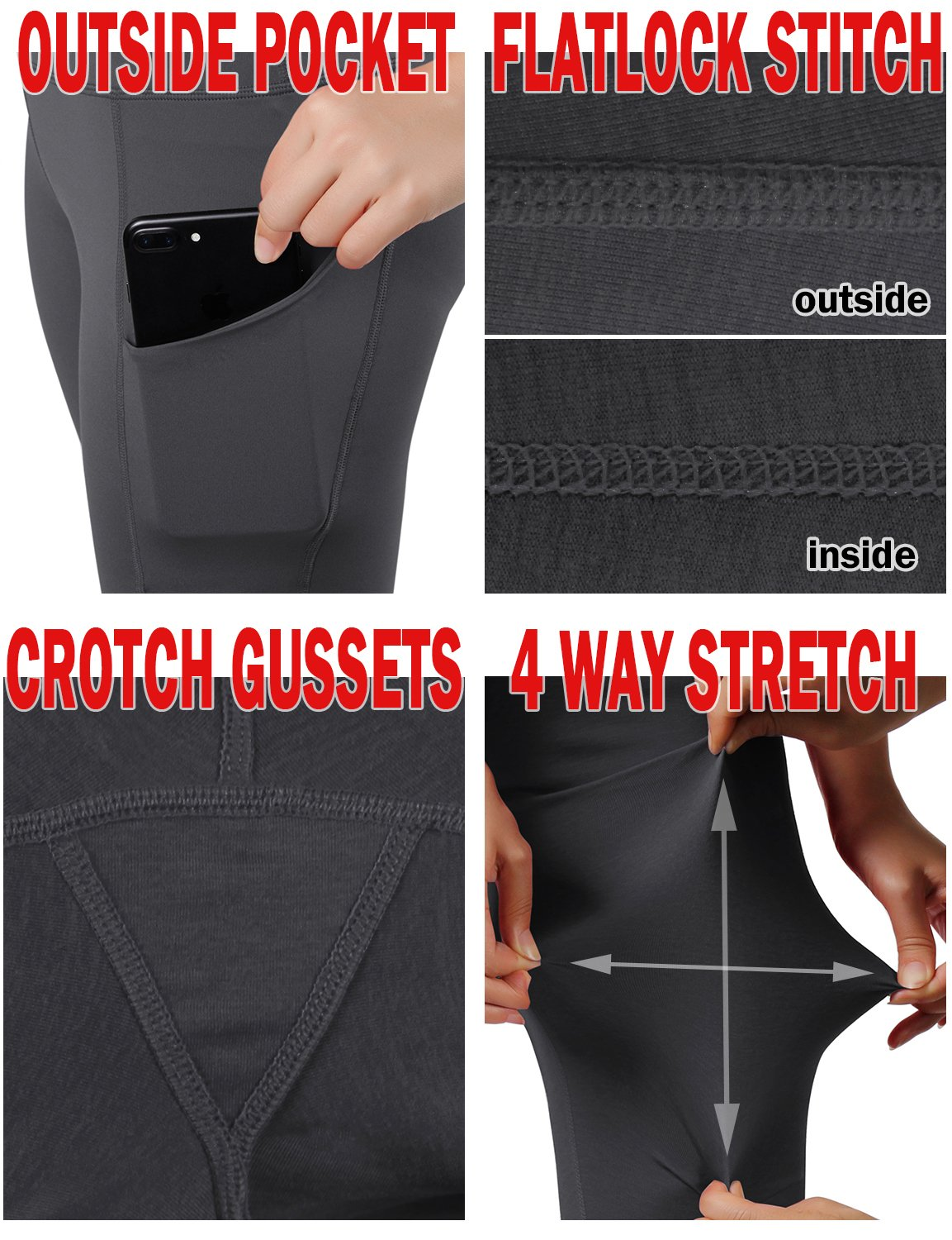 ODODOS High Waist Out Pocket Yoga Shots Tummy Control Workout Running 4 Way Stretch Yoga Shots, Gray, X-Large by ODODOS (Image #6)